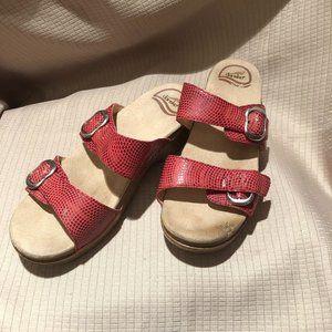 Dansko coral red leather wedge clog sandals, 8.5